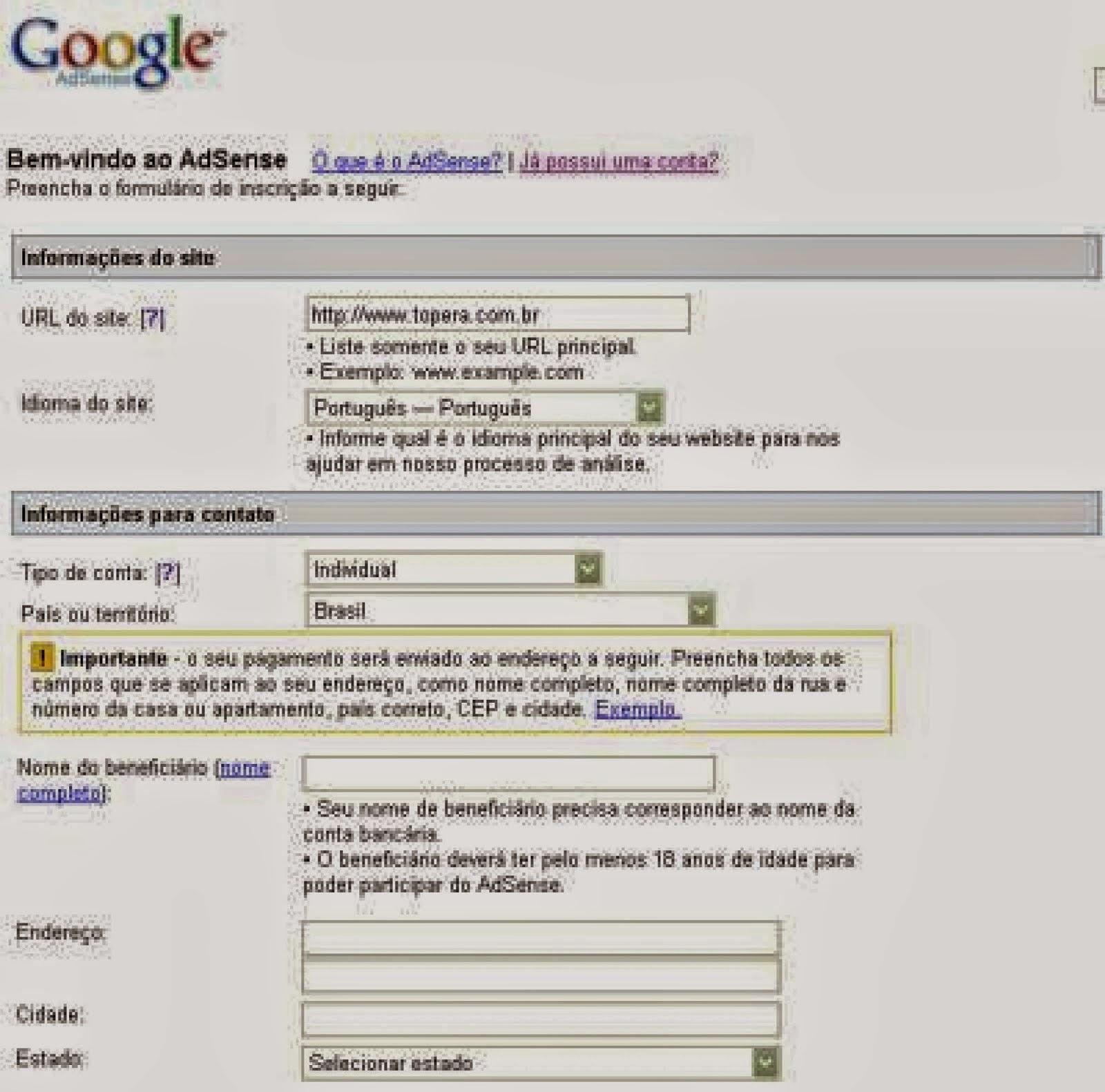 Google Adsense cadastro
