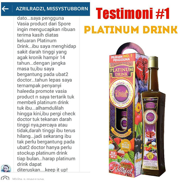 Testimoni Platinum Drink V'asia