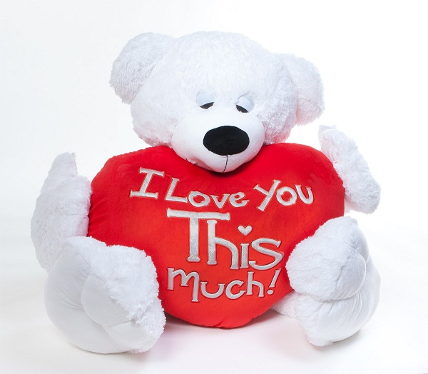I Love You This Much! White Teddy Bear