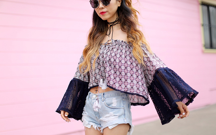 Glamorous off shoulder top with wide lace sleeves, choker, gentle monster sunglasses, one teaspoon shorts, givenchy mini antigen, peep toe booties, san francisco street style, nm gift card event
