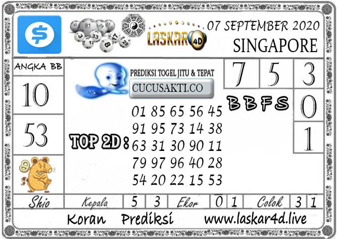 Prediksi Togel SINGAPORE LASKAR4D 07 SEPTEMBER 2020