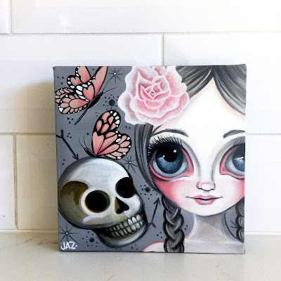 http://www.ebay.com.au/itm/ORIGINAL-PAINTING-Fragile-Beauty-Canvas-Big-Eye-Art-Skull-Flower-Girl-Jaz-/282090106960?hash=item41ade17050