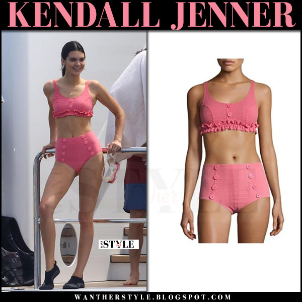 Kendall Jenner in pink button and ruffles bikini lisa marie fernandez Cannes 2017 what she wore