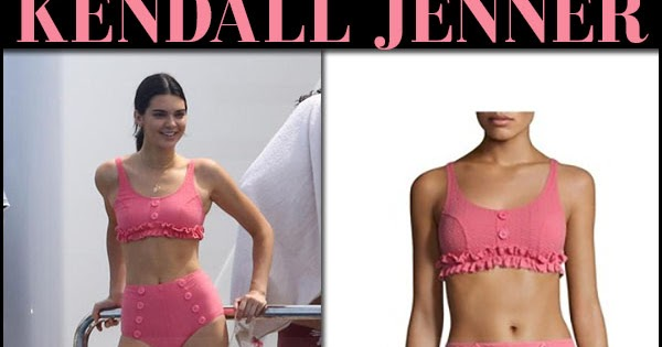 54e70e59748a2 Kendall Jenner in pink ruffle button bikini in Cannes on May 23 ~ I want  her style - What celebrities wore and where to buy it. Celebrity Style