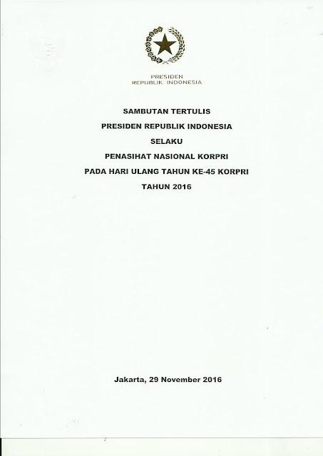 Sambutan Tertulis Presiden RI HUT Ke-45 KORPRI Tahun 2016
