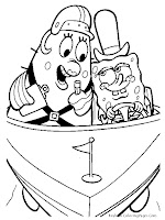 SpongeBob Square Pants And Mrs Poppy Puff Driving Boat