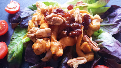 ensalada templada de pollo con vinagreta de caramelo