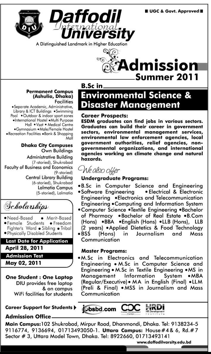 Daffodil International University Summer 2011 Admission