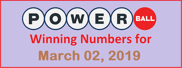 PowerBall Winning Numbers for Saturday, 02 March 2019