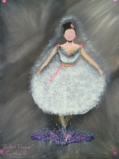 Ballet dancer, bailarina de ballet, pintura acrílica, acrylic painting on canvas,