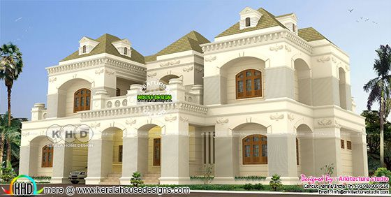 Colonial 4000 sq-ft home plan with 4 bedrooms