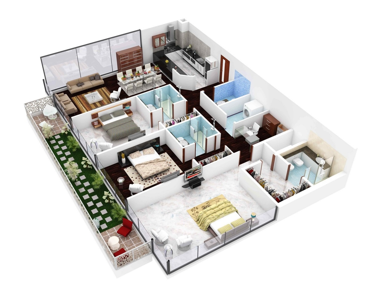 10 Contoh Denah Rumah Minimalis 3 Kamar Tidur 3D IFabrix