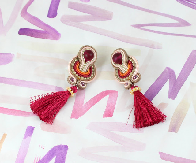 pink with tassels soutache earrings, soutache handmade jewelry