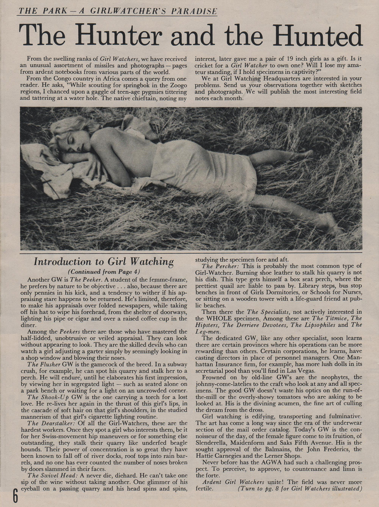 The First Issue Of The Girl Watcher A 1959 Magazine