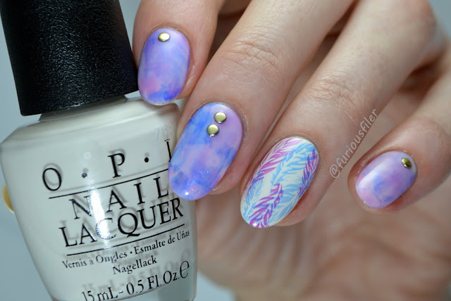 feathers jelly marble smooshy studded stamping delicate #nailpolishsocietyabc