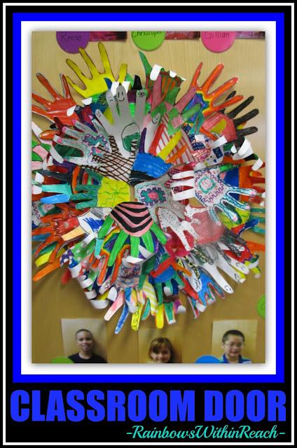 photo of: Classroom Door of Individual Decorated Hands via RainbowsWithinReach