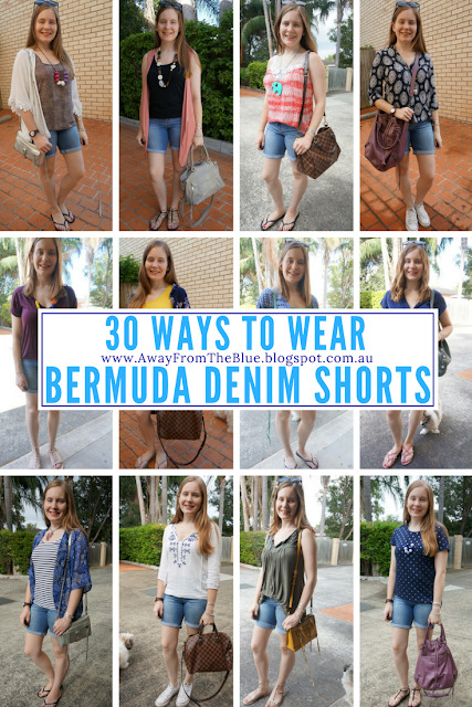 30 Ways To Wear Bermuda Denim Shorts #30wears Away From The Blue Blog