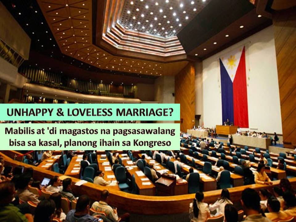 Getting married is simple and easy but getting out is painful, expensive and a long process. The Philippines is the only country in the world without divorce. Annulment is available but expensive. These are common reasons why some people stay in a marriage in spite of being unhappy and loveless.  With this, House Speaker Pantaleon Alvarez offers a solution to end the suffering of both parties staying in a dysfunctional married life.  According to Alvarez, the bill for dissolution of marriage will be his advocacy in the second regular session of the 17th Congress.