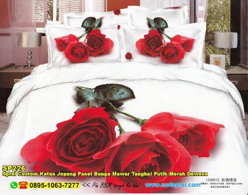 Sprei Custom Katun Jepang Panel Bunga Mawar Tangkai Putih Merah Dewasa