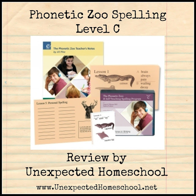 Unexpected Homeschool Review: Phonetic Zoo Spelling by IEW. A solid method to ensure spelling mastery.