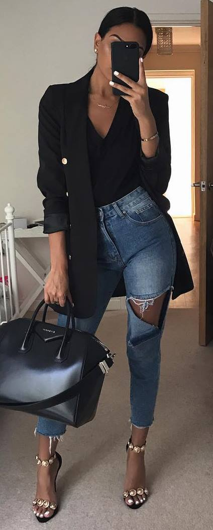 what to wear with ripped jeans : black bazer + top + bag + heels