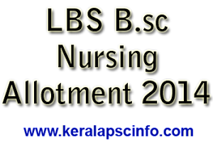Bsc Nursing first allotment results 2014