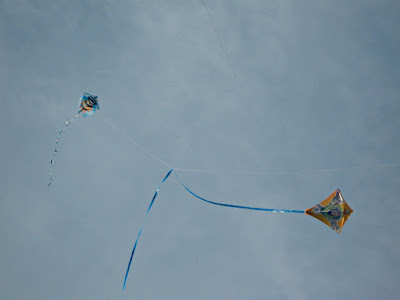 Two kites flying together in the sky