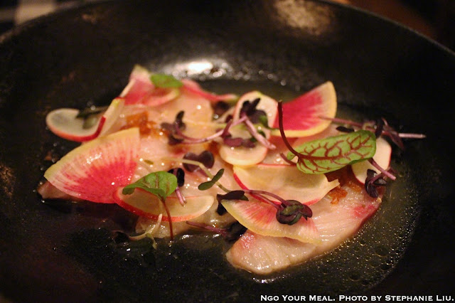 Hamachi Crudo with Sunflower, Sesame, Hemp, and Radish at Upland