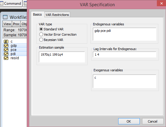 EViews VAR Specification from cruncheconometrix.com.ng