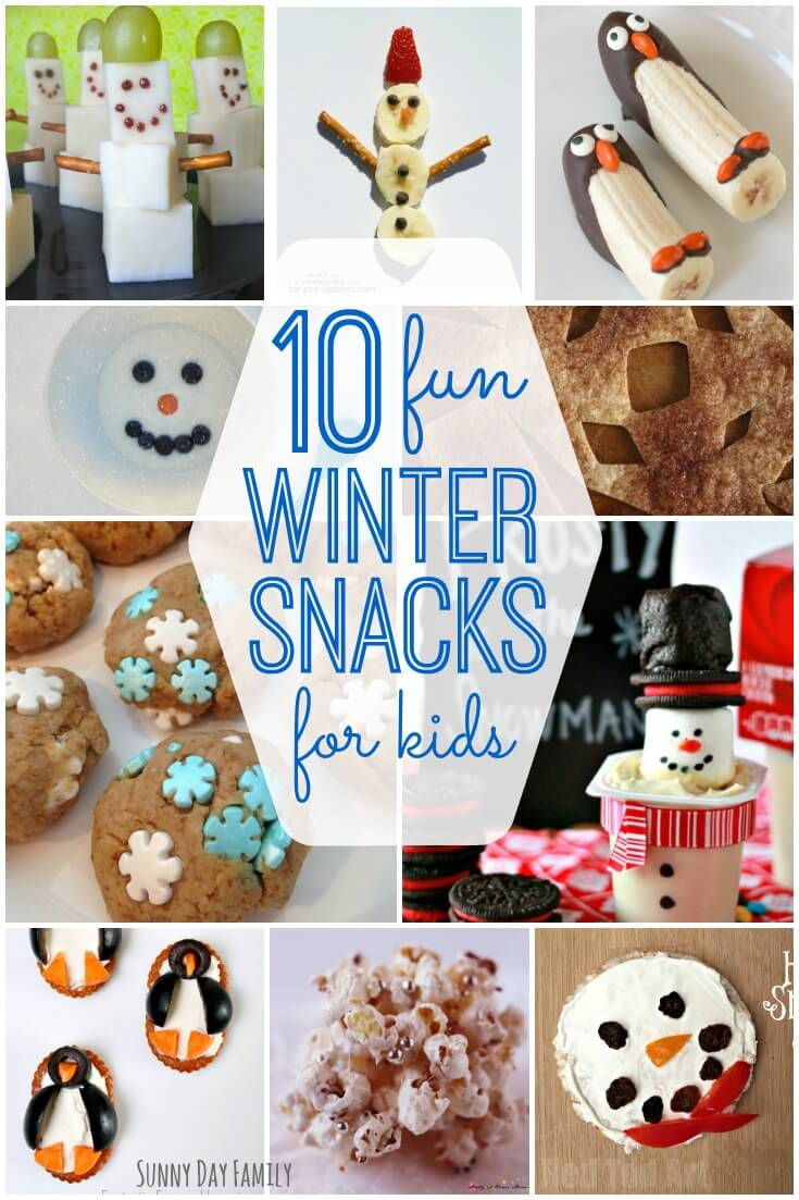 10 Fun Winter Snacks for Kids! Kids will love these snack ideas featuring snowman snacks, penguin snacks, and more! Perfect winter classroom snack ideas or easy snacks for kids at home.