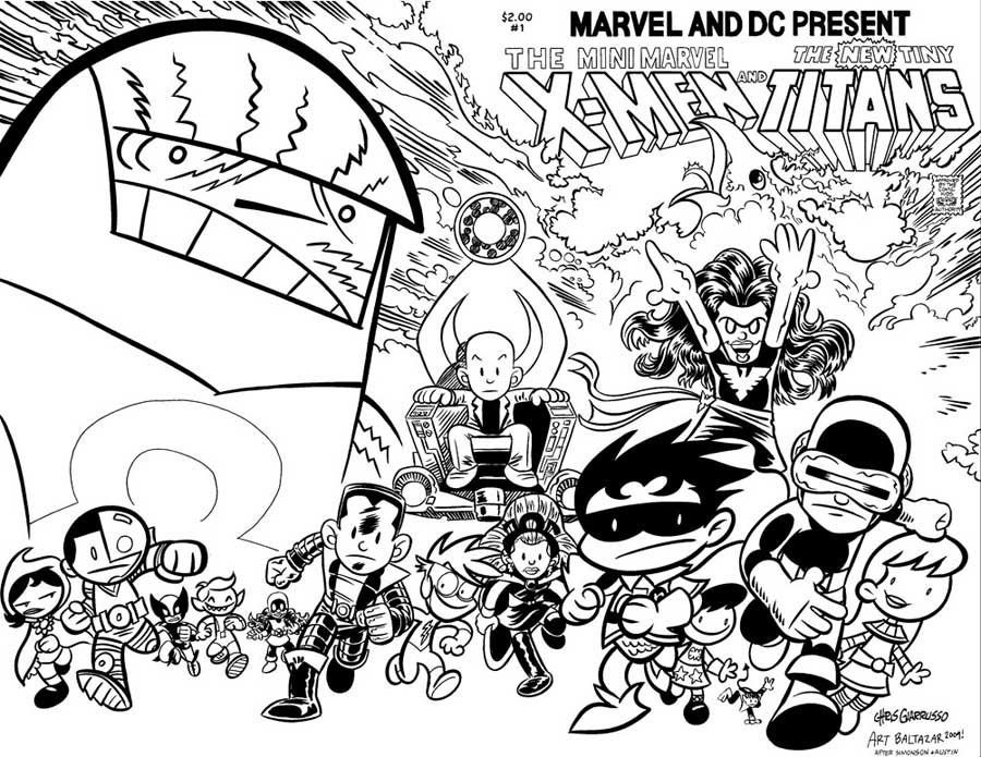aliens in the attic coloring pages | The Dork Review: Wanted Poster: Mini Marvel and Tiny Titans
