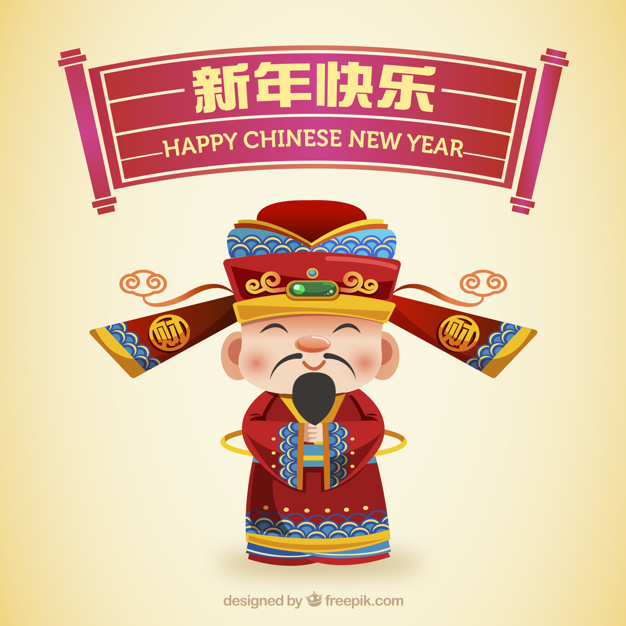 Chinese new year design with smiling man Free Vector
