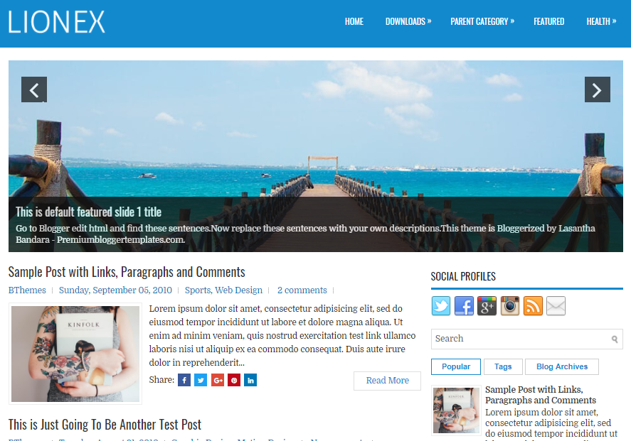 Lionex Blogger Template