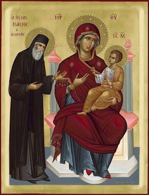 Αποτέλεσμα εικόνας για εμφανιση παναγιας αγιο παισιο