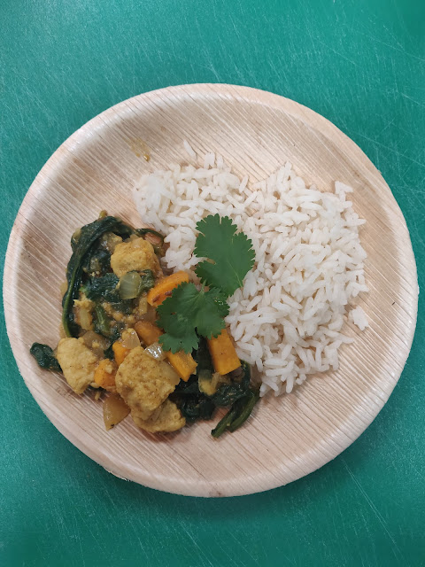 Quorn, spinach and sweet potato curry