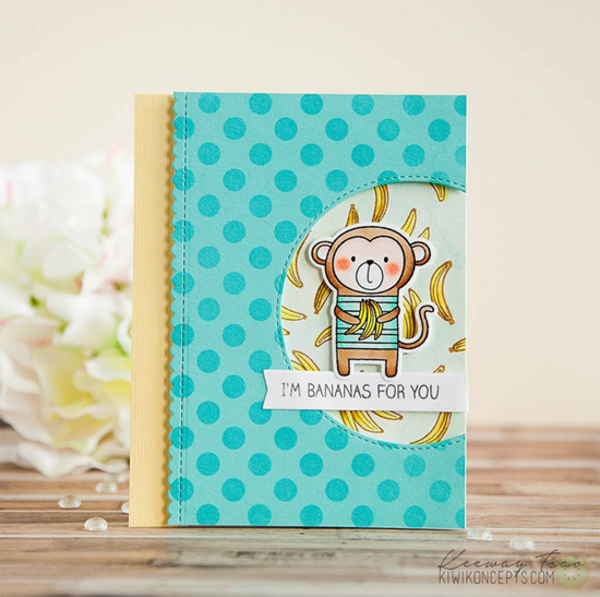 Cheeky Monkey stamp set and Die-namics - Keeway Tsao #mftstamps