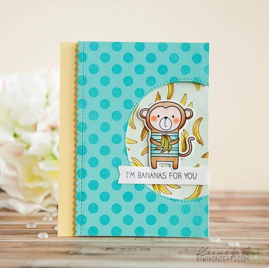 Cheeky Monkey stamp set and Die-namics - Keeway Tsao #mftstamps
