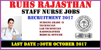 RUHS Rajasthan Staff Nurse jobs Recruitment 2017