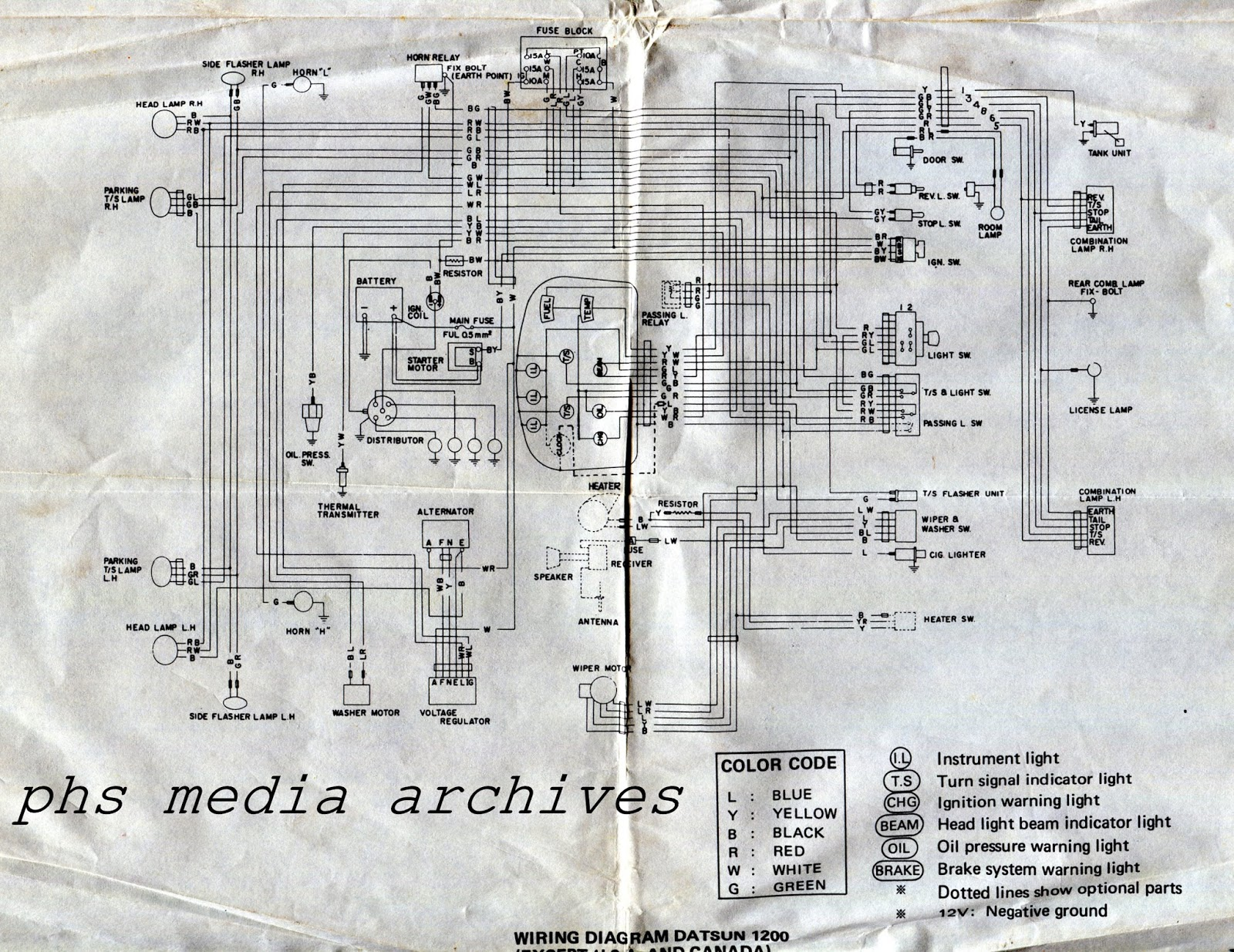 medium resolution of phs tech series 1971 72 datsun 1200 wiring diagrams 3 way switch light wiring diagram