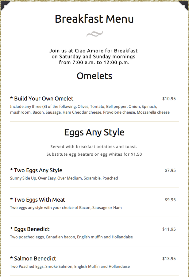 Check Out Our Menus