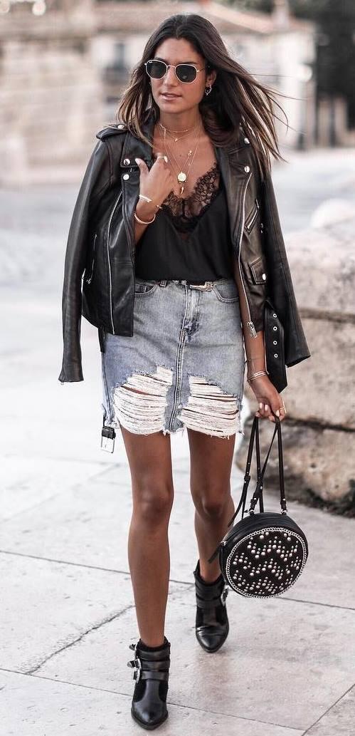 street style addiction / biker jacket + top + denim skirt + bag + boots