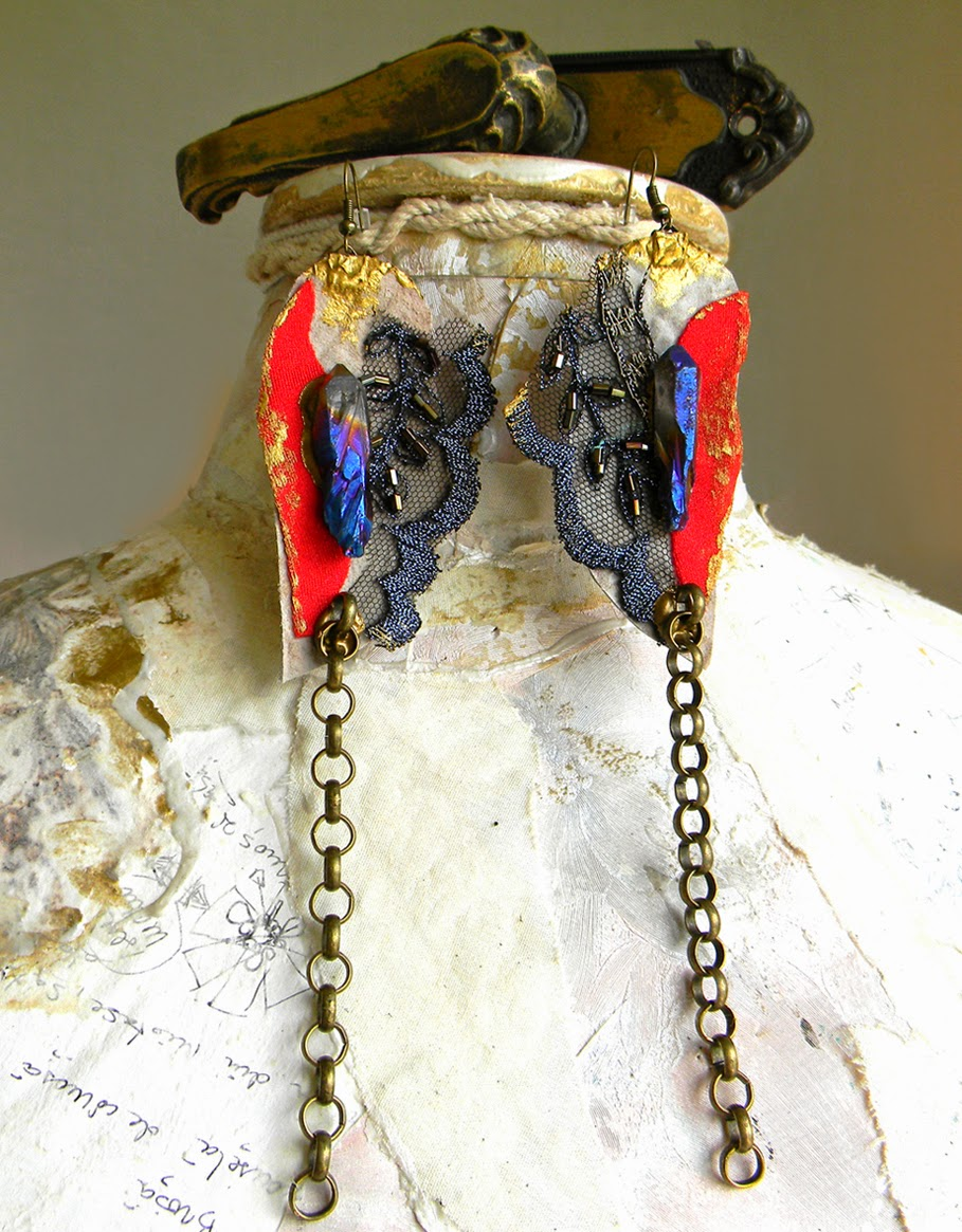 Statement Textile Earrings with Bronze Chain and Crystal Quartz Points
