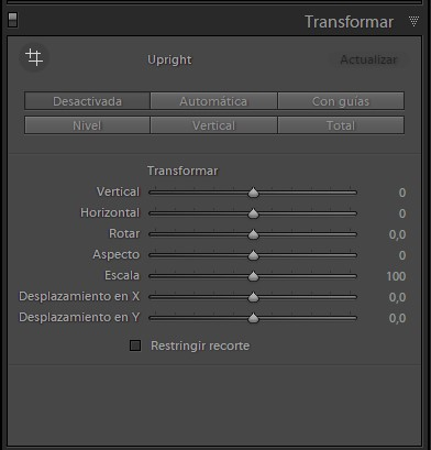 panel 'Transformar'