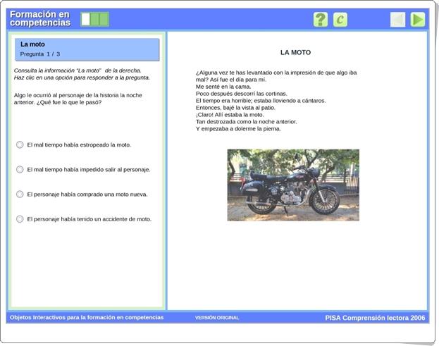 """""""La moto"""" (Aplicación interactiva de Comprensión Lectora de Secundaria)"""