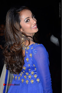 Telugu Actress Tejaswi Madivada Pos in Blue Long Dress at Nanna Nenu Na Boyfriends Audio Launch  0016.JPG