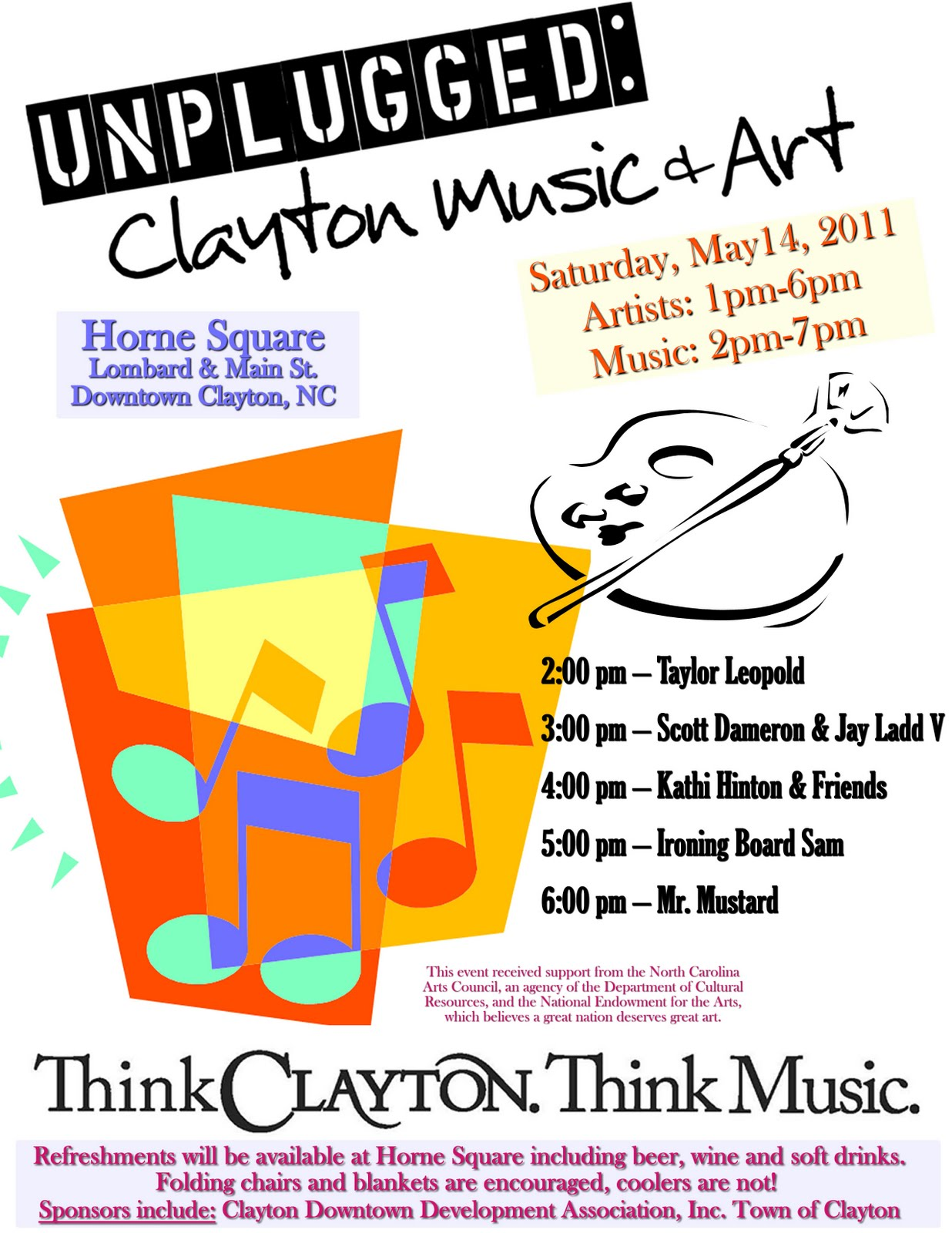 Downtown Clayton Nc Unplugged Clayton Music Art Poster