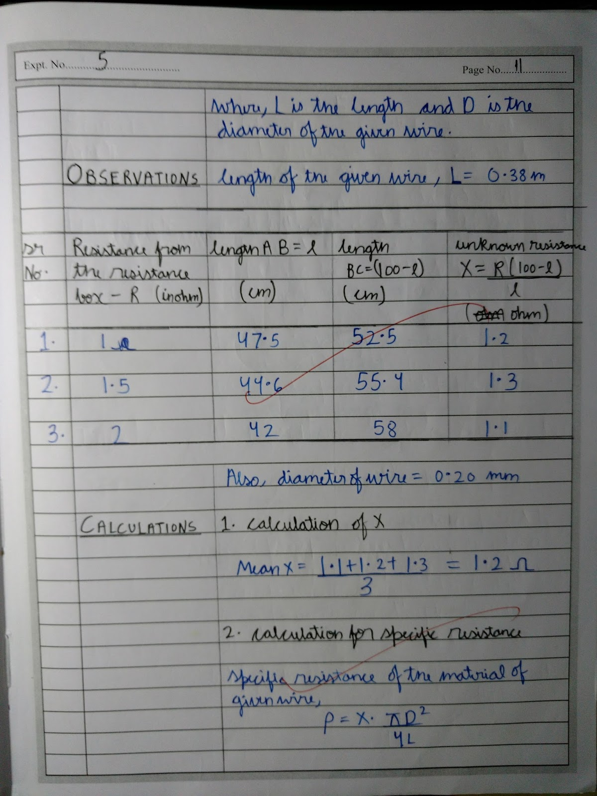 Exp 5. To find the resistance of a given wire using meter bridge and ...