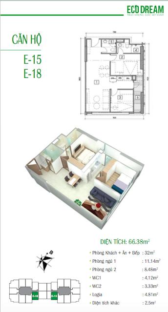 Thiết kế căn hộ 66,38m2 chung cư Eco Dream