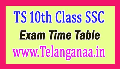 Telangana 10th Class SSC Board Exam Time Table 2017 Download