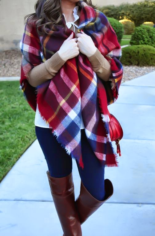 A Blanket Scarf/Poncho in Red and Navy Plaid